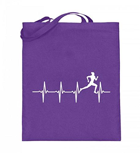 Hochwertiger Jutebeutel (mit langen Henkeln) - Laufen - Läufer - Herzschlag Violett
