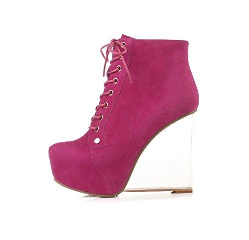 WSS chaussures à talon haut En cuir chaussures haut talon avec plateforme transparente des boîtes de nuit de personnalité cintrées des bottes Purple