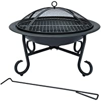 Bentley 56Cm Round Outdoor Garden Patio Fire Pit Heater Open Bowl Black
