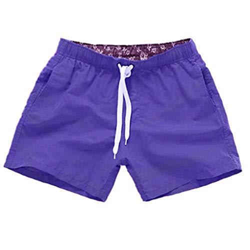Badehosen Herren Arbeitshosen SpleißEn Streifen Pure Farbe Strand BeiläUfig Kurze Badeshorts Sommer