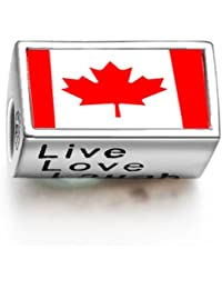 Canada Flag Words Live Love Laugh Bead Charm Fit Pandora Chamilia Biagi beads Charms Bracelet