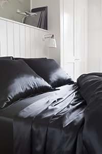 Luxurious 100% Mulberry Silk Pillowcase Black Oxford Style 19MM