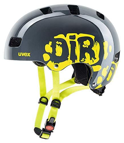 uvex Unisex Jugend, kid 3 Fahrradhelm, dirtbike grey-lime, 55-58 cm