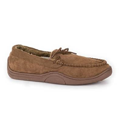 The Slipper Company - Mens Brown Lace Tie Moccasin Slipper - Size 12 - Brown