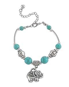 Souarts Couleur Argent Vieilli Bracelet Chaine avec Breloques Elephant Perles Turquoise Artificiel