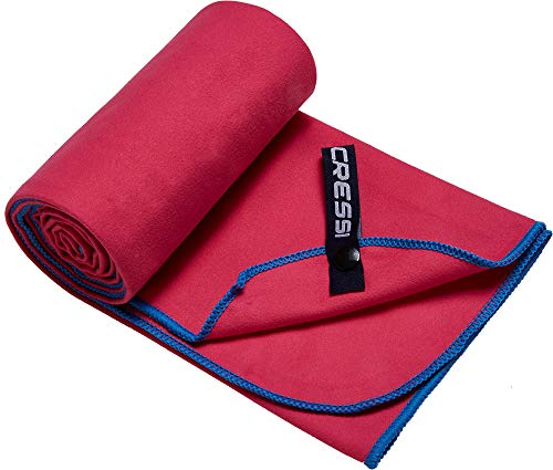 Cressi Microfibre Fast Drying Playa Toalla Sport, Adultos Unisex, Red/Azul Claro, 90x180