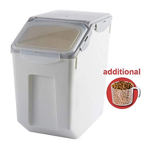 Baffect Futtercontainer, Aufbewahrungsbox für Tierfutter, Futtermittelbox Hundefutter Katzenfutter Futtertonne Futterbehälter Trockenfutter Vorratsbehälter luftdicht bewegbar, groß 8-10kg, Grau