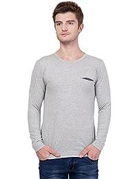 AERO Grey Solid Cotton Round Neck Slim Fit Full Sleeve Men's T-Shirt