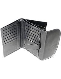 Mesdames polyvalent souple Porte-monnaie cuir véritable détenteur de la carte de crédit avec Purse & Porte-Monnaie / Section - Contient 12 Cartes de crédit - Noir