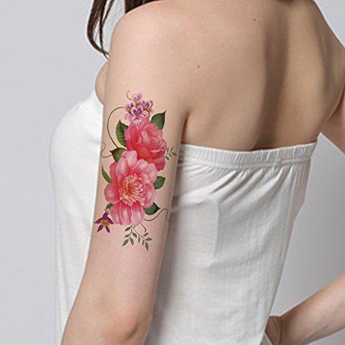 TAFLY Bei Fiori Rosa Falso Tatuaggi Temp Sticker Per Donne Impermeabile Corpo Tatuaggi 5 Fogli