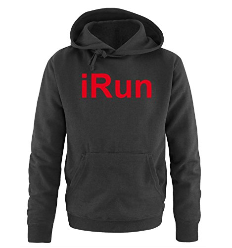 Comedy Shirts - iRun - Uomo Hoodie cappuccio sweater - taglia S-XXL different colors nero / rosso