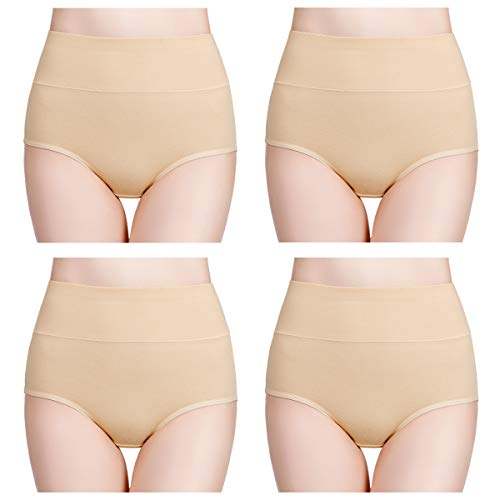 wirarpa Damen Unterhosen Baumwolle Hautfarbe 4er Pack Slips Damen mit Hoher Taille Atmungsaktive Taillenslip TOLLE QUALITÄT Hautfarbe 38 40 42 -