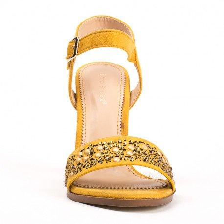 Ideal Shoes - Sandales à talon carré avec partie ajourée et strassée Henya Jaune
