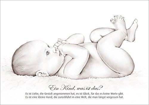 fioniony Glückwunschkarte Geburtskarte Babykarte mit wunderschöner schwarz/Weiss Zeichnung eines Baby`s. Gedicht: EIN Kind, was ist das?. (8)