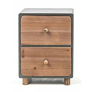 Mini-Kommode aus Holz, 2 Schubladen, freistehend, moderne Landhaus-Serie in natur/grau, Größe ca. 21 x 12 x 29 cm