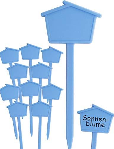 HomeTools.eu® - 10 Pflanz-Schilder | Steck-Etiketten Pflanzen-Stecker | Kunststoff, beschreibbar, für außen, verwitterungsfest | Häuschen, 13,5cm, blau
