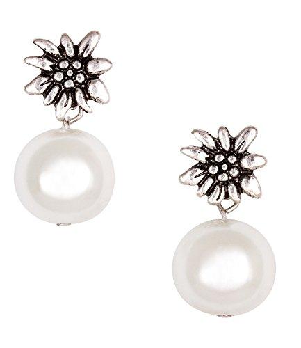 SIX Ohrstecker: Hängende Ohrringe in Silber, mit weißer Perle und Edelweiß-Blüte verziert, passt...