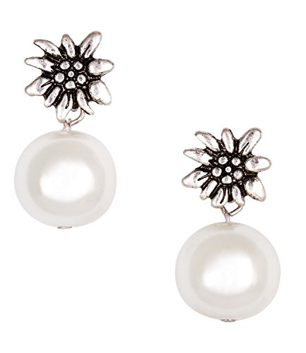 "SIX""Oktoberfest"" Damen Ohrring, silberne Ohrstecker mit Edelweiß silber, weiße Perle, Dirndl..."