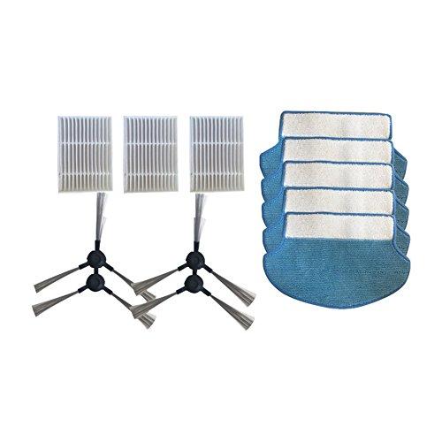 Hzjundasi 4*Brosse latérale+3*Hepa Filtre+5*Nettoyage Rag Pads pour Proscenic Aspirateur Bluesky MC70 Swan P1 P2 P3 P1S P2S,Coton Noyau Filtre Mop Tissu Brosse latérale Sweeper Kit de remplacement