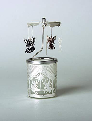 Kerzenfarm Hahn Glaskarussell Teelichthalter Windlicht 84343 Motiv Engel Größe 16 x 6 x 6 cm Glaskarussel, Glas, Silber, 6 cm -