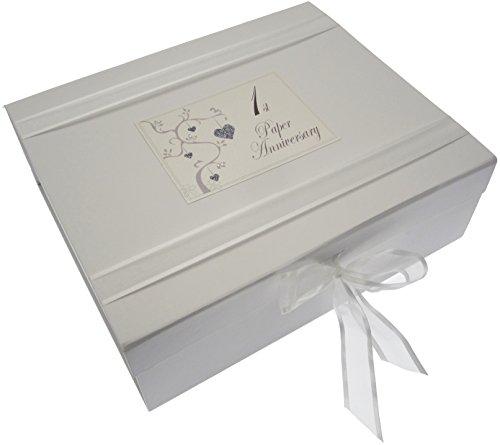 WHITE COTTON CARDS Erinnerungsalbum, Hochzeit, Love Tree Erinnerungsschachtel für 1. Hochzeitstag/Papierhochzeit