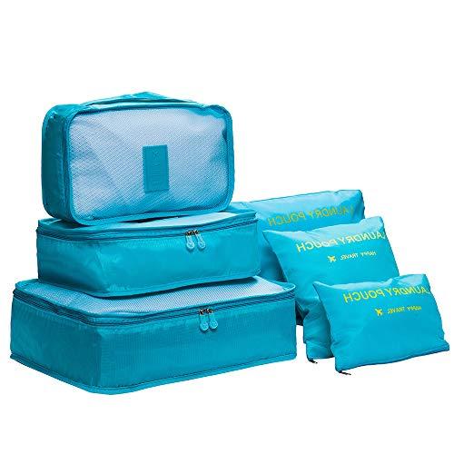 DoGeek- 6 en 1 Set de Organizador de Equipaje Viaje con Bolsa de zapatos, impermeable. Organizador de Maleta Bolsa para Ropa Sucia de Viaje, Material Nylon