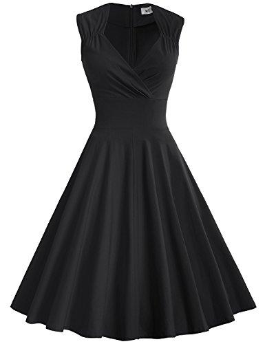 MUXXN Damen Retro 1950er V-Ausschnitt Brautjungfer Party Swing Kleid(2XL, (Tragen Jahre 50er)