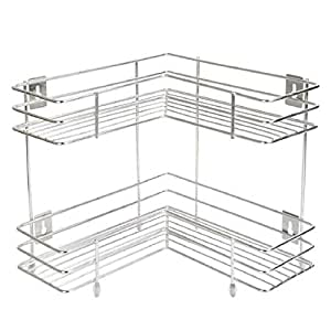 4tens Stainless Steel 2 Layer Corner Stand for Kitchen and Bathroom/Multipurpose Storage Rack/Bathroom Rack Silver Colour (1 Piece)