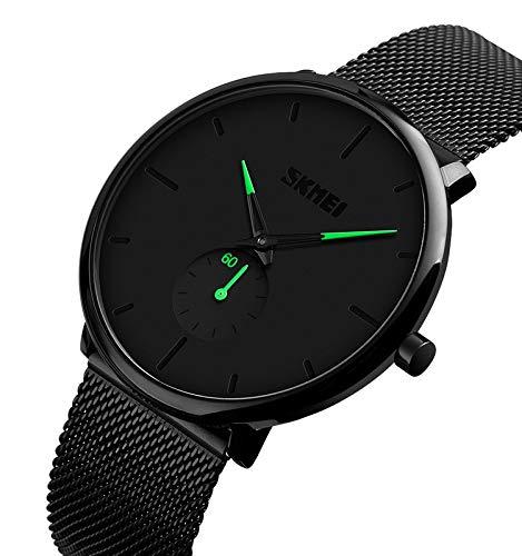 Relojes para Hombres, KOTIME De Moda Casual Hombre Relojes De Malla Ultra Fino Negro para Hombres Relojes Deportivo Reloj Hombre de Cuarzo Impermeable (Verde)
