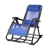 RFJJAL Klappstuhl Klapp Schaukelstuhl Mit Kopfstütze Im Freien Tragbare Schwerelosigkeit Stuhl Für Camping Angeln Strand Im Freien (Color : Rocking Chair Blue, Size : 50 * 86 * 45cm)