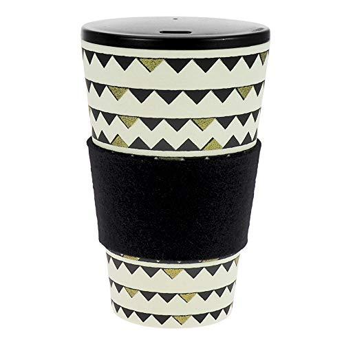 Termo hecho de bambú | con tapón de rosca, anilla de fieltro lana auténtica | Taza de café, taza para beber | Biodegradable, y respetuoso con el medio ambiente | Seguro para alimentos, apto para lavavajillas