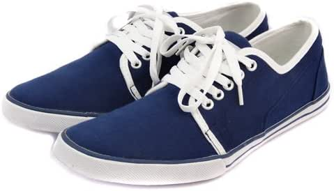 Mens Navy Blue White Canvas LACE UP