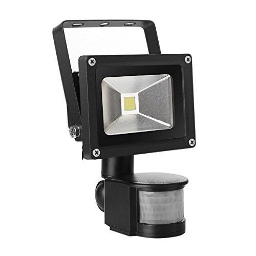10 Watt Greenline LED Flutlicht Fluter 230V Außenleuchte [2 JAHRE GARANTIE] Wandstrahler Außenstrahler IP65 mit Bewegungsmelder EEK: A++-A