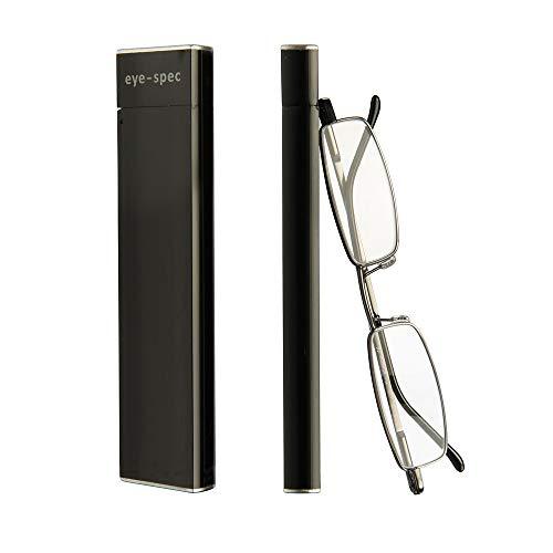 The Slimline   Ultraleichte Lesebrille mit stilvollen Rahmen in Schwarz und schmalem Etui - Praktisches Faltdesign von eye-spec