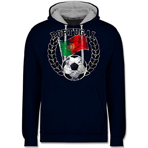 Fußball-WM 2018 - Russland - Portugal Flagge & Fußball Vintage - Kontrast Hoodie Dunkelblau/Grau meliert