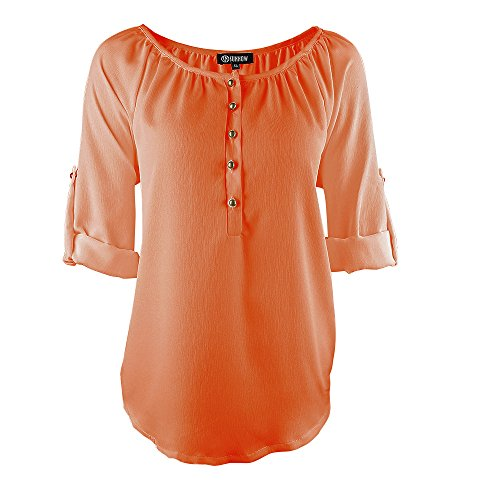 SUNNOW Damen New Mode Langarmshirts V-Ausschnitt Einfarbig Bluse Locker Basic Casual T-Shirt Oberteil Orange