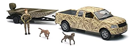 New Ray Camo Pick Up Truck with Jon Boat and Trailer