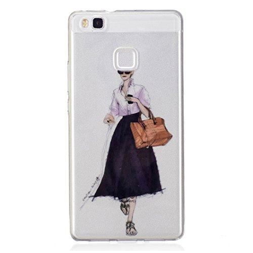 Wanxideng cover huawei p9 lite, custodia in silicone morbida - case di cristallo trasparente - signora elegante