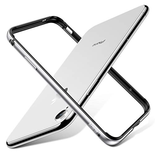 ESR Kompatibel mit iPhone XR Hülle, Metall Aluminium Rahmen mit innerem TPU Stoßdämpfer Handyhülle Alu Bumper Case Hand Schutzhülle für iPhone XR (6,1 Zoll) - Silber