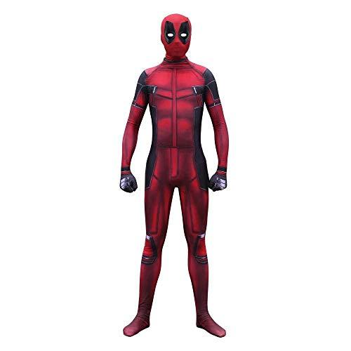 Themen Kostüm Superhelden - WERTYUH Deadpool Cosplay Kostüm Halloween Boy Spandex Superheld Trikot Kostümfestkleidung Spandex Jumpsuits,Kid-M
