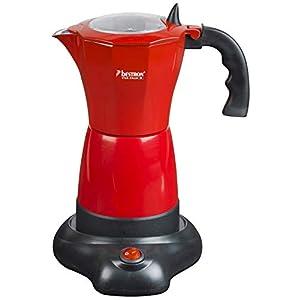 Bestron Moka elettrica con base, Viva Italia, Per 6 tazzine da caffè: 180 ml, 480 Watt, Alluminio, Rosso