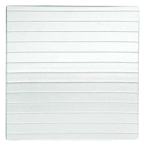 Home Striped Assiette Carré, Verre, Transparent/Vert, 20 x 20 x 2 cm