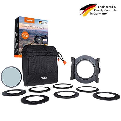 Rollei F:X Pro Filterhalter Set I Steckfiltersystem für 100mm Rechteckfilter I Filter Halterung inkl. Adapterringe 52-82mm und F:X Pro CPL Polfilter -