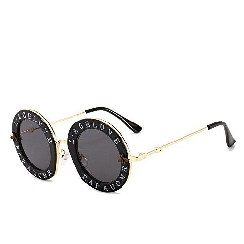 PDYCD Persönlichkeit Sonnenbrille Biene Buchstaben Kreis Straße Schießen Sonnenbrille Damen Visor Mädchen Joker Brille Mode Brille,Black