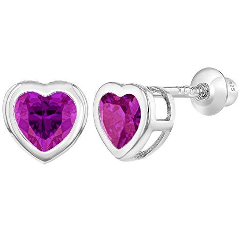 In Season Jewelry Säugling Mädchen Kinder - Schraubverschluss Ohrringe Herzform Heiß 925 Sterling Silber Rosa CZ Zirkonia