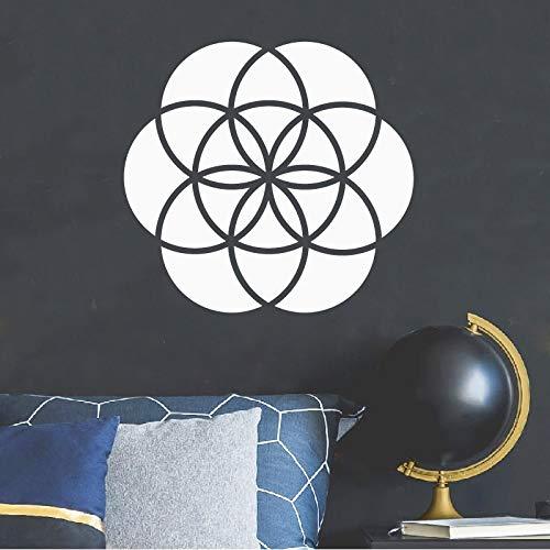 ablone Wandtattoos, DIY Handwerk Schablone des Samen des Lebens Laptop Vinyl Kunst Aufkleber Heilige Geometrie Decal Home Decor, schwarz, 60x56cm ()
