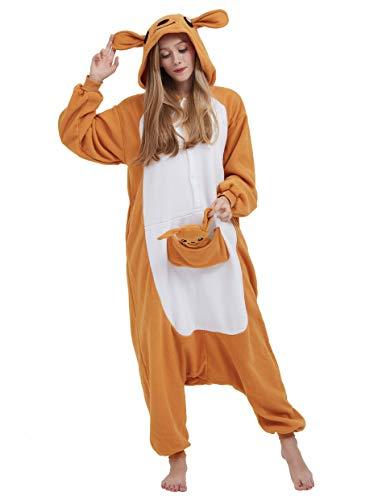 Kostüm Adult Känguru - Jumpsuit Onesie Tier Karton Fasching Halloween Kostüm Lounge Sleepsuit Cosplay Overall Pyjama Schlafanzug Erwachsene Unisex Känguru for Höhe 140-187CM