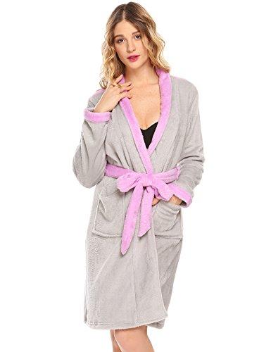 ADOME Damen Flanell Morgenmantel V-Ausschnitt Kimono Bademantel Schlafanzug Saunamantel Nachtwäsche Robe (Kurze Flanell Ärmel)