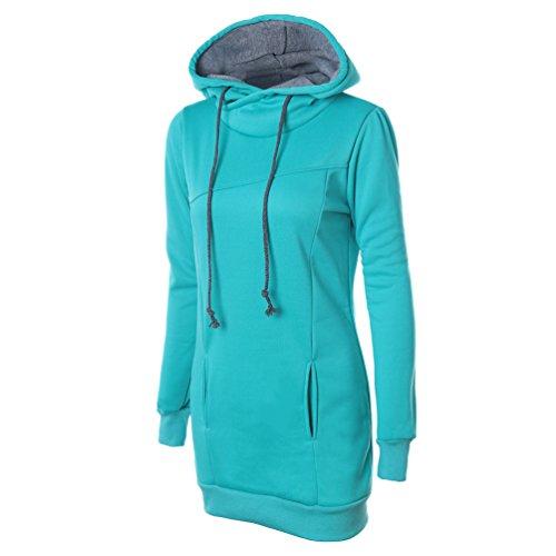 Zhiyuanan Donna Colore Solido Slim Felpa Con Cappuccio Maniche Lunghe Coulisse Hooded Sweater Inverno Confortevole Caldo Canguro Tasca Pullover Verde