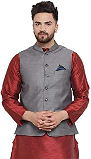 NEUDIS by Dhrohar Textured Cotton Nehru Jacket/Waistcoat For Men - Grey